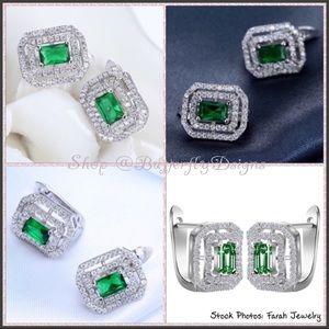 Emerald Green CZ Leverback Stud Earrings